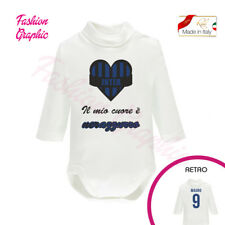 BODY NEONATO NEONATA LUPETTO TIFOSO INTER ULTRAS CALDO COTONE MADE IN ITALY