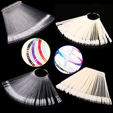 50Clear Fals Nail Art Tips Colour Pop Sticks Display Fan Practice Starter RingV