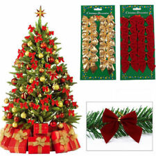 12 PCS Christmas Tree Bow Decoration Baubles XMAS Party Garden Bows Ornament