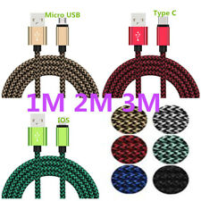 1M 2M 3M Type-C Micro USB IOS Data Sync Fast Charger Charging Cable For Samsung