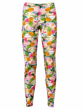 floral TROPICAL EXOTIQUE ANANAS FRUIT OISEAUX Motif Rayure legging taille 8 - 22