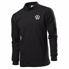 CAMISETA DEL POLO MANGA LARGA BLACK BORDADO PARCHE VW VOLKSWAGEN LOGO
