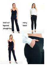 Womens Smart Trousers Office Work Boot Cut Straight Tapered Navy Black BHS