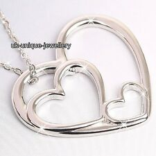 Silver Heart Pendant Necklace Chain Wife Women + Gift Bag Xmas Gifts For Her F5