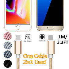 1M/3.3FT 2in1 Dual Side Micro USB iOS Fast Charging Charger Data Sync Cable Cord