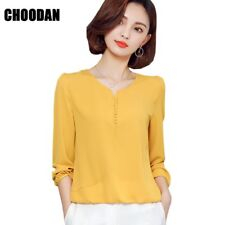 Long Sleeve Blouse Shirt Women Clothes 2017 Autumn Korean Style V Neck Solid Whi