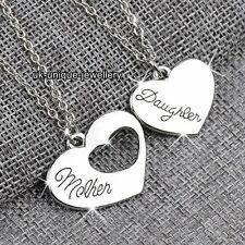 Mother Daughter Silver HeartsPendant Necklace Chain Xmas Gift For Her Mum Women