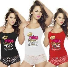 Ladies Womens Miss New Year Any Name Print Vest Top RacerBack Gym Sports Lot