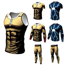 Mens Sweatpants Costume T-shirt Trousers Anime Jersey Tee Pants One Punch Man 3D