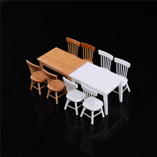 1:12 Wooden Kitchen Dining Table With 4 Chairs Set Barbie Dollhouse Furniture JS