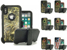 For iPhone X Case, Defender Case Rugged Camouflage Cover w/ Clip Fits Otterbox