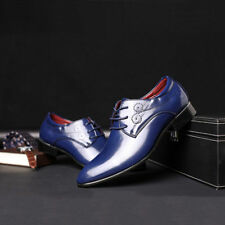 Mens Smart Lace Up Pointed Toe Brogue Wingtip Formal Patent Leather Lined Shoes