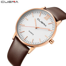Cuena Men Quartz Watch Fashion Clock Genuine Leather Watches Reloj Relojes Water