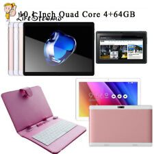 3G 10.1'' 4+64GB Tablet PC Android 4.4 Core Dual SIM HD Wifi+ Keyboard+Stand