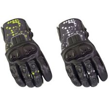 BIKE IT Revel Cuero Touring Motocicleta Guantes Textil Negro Amarillo