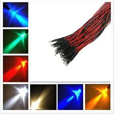 2x LED 3mm HIGH BRIGHTNESS with cable and resistance wired red white blue green