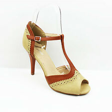 WOMENS LADIES T-BAR MID HIGH HEEL PEEP TOE COURT SHOES BROGUES SANDALS SIZE 3-7