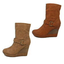 WOMENS LADIES CASUAL WARM PLATFORM HIGH WEDGE HEEL ANKLE BOOTS SHOES SIZE 3-8