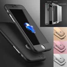 Hybrid 360° Hard Ultra thin Case+Tempered Glass Cover For iPhone 5 6S 7 8Plus X