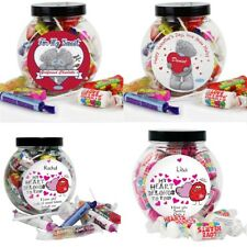 PERSONALISED Valentines Sweet Jar Love Hearts Gift Present Idea For Her For Him