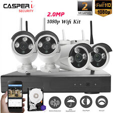 4CH Wireless Wifi NVR Kit CCTV Security Cameras Video Recorder &1-4TB Hard Drive