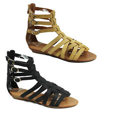 WOMENS LADIES STRAPPY GLADIATOR STLE LOW WEDGE HEEL ANKLE SANDALS SHOES SIZE 3-8