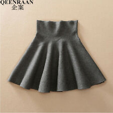 2017 Spring Autumn High Waist Knitted Skirts Women Pleated Mini Skirt Casual Ela