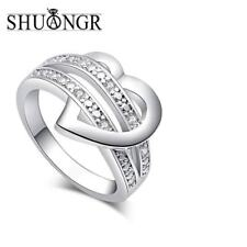 Shuangr 1 X Newest Fashion Women Jewelry Silver-Color Bling Heart Love Women Wed