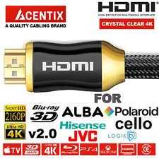 PREMIUM HDMI HD Cable 4K 2160p LCD LED ALBA POLAROID HISENSE JVC CELLO LOGIK TV