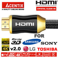 PREMIUM HDMI HD High Speed Cable 4K 2160p FOR SAMSUNG LG PANASONIC TOSHIBA SONY