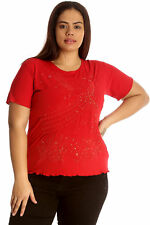 New Womens Top Plus Size Ladies Embroidery Sequin T-Shirt Tunic Scallop Hem Sale