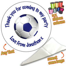 24 Personalised Football Ball DIY Sweet Cone Ribbon Party Bags Kit Stickers 082