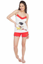 Soie  White Wonder Woman Print On Top With Matching Shorts (WWO-3RED+WHITE)