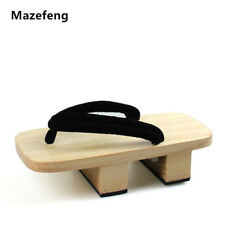Mazefeng Solid Heel Flip-Flops Men Platform Sandals Japanese Geta Clogs Wooden M
