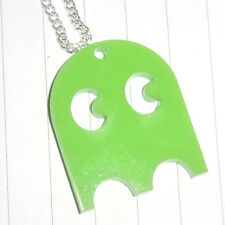 80s Retro Arcade Game Pacman Ghost Logo Charm Necklace Kitsch Kawaii Acrylic