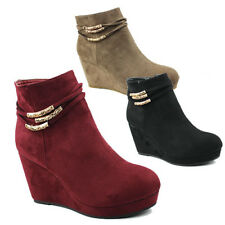 WOMENS LADIES CASUAL PLATFORM WEDGE HEEL CHELSEA ANKLE BOOTS SHOES SIZE 3-8