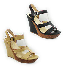 WOMENS LADIES STRAPPY PLATFORM WEDGE HEEL ANKLE STRAP SANDALS SHOES SIZE 3-7