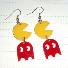 80s Retro Geek Game Pacman and Ghost Double Charm Earrings Kawaii Kitsch Arcade