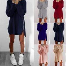 Women Split Side Zip Knitted Wrap Sweater Warm Jumper Loose Pullover Fitted Tops
