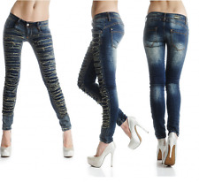 sexy nuovo donna ADERENTE BLU PANTALONI JEANS DESTROYED strappato look Y 327