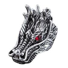 2017 New Design Dragon Head Rings For Men Punk Rock Style Red Stone Rings Party