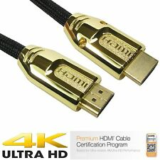 HDMI Cable High Speed With Ethernet v2.0 FULL HD 4K 3D ARC GOLD Nylon Braided