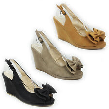 WOMENS LADIES CASUAL WEDGE HEEL PEEP TOE SLINGBACK BOW SANDALS SHOES SIZE 3-8