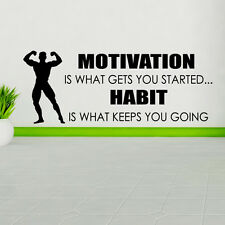 Motivation Is What Gets You Started Autocollant Mural Sport sticker Décalque Gym