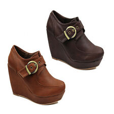 WOMENS LADIES HIGH WEDGE HEEL PLATFORM LOW ANKLE BOOTS BOOTIES  SHOES SIZE 2-7
