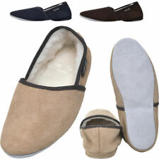 Mens British Made Sheepskin Suede and Lambswool Slippers with Hard Suede Sole