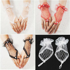 LC_ Bow Sexy Evening Lace Wedding Fingerless Dress Bridal Party Gloves Short W