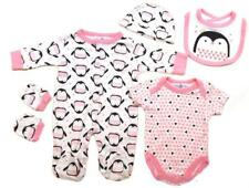BABY GIRLS 5PC NET BAG GIFT SET PRINCESS PENGUIN NB-6 MONTHS
