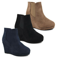 WOMENS LADIES CASUAL PLATFORM CHELSEA ANKLE BOOTS WEDGE HEEL SHOES SIZE 3-8
