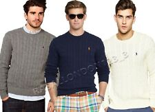 RALPH LAUREN MENS PULLOVER CREW NECK JUMPER SWEATER 100% COTTON CABLE KNIT